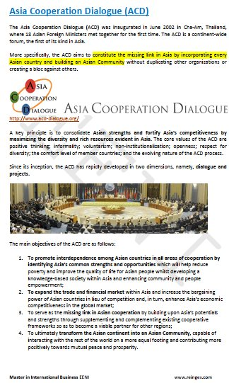 e-Course: Asia Cooperation Dialogue (ACD)