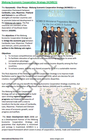 Mekong Economic Cooperation Strategy (ACMECS): Cambodia, Laos, Myanmar, Thailand, and Vietnam