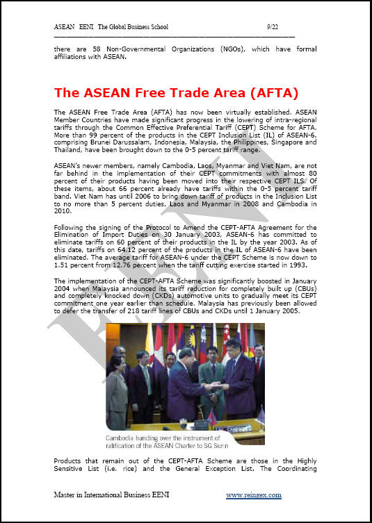 Association of Southeast Asian Nations ASEAN, Master