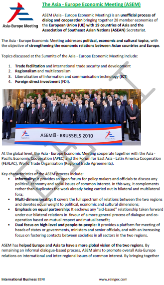 e-Course: Asia-Europe Economic Meeting (ASEM)