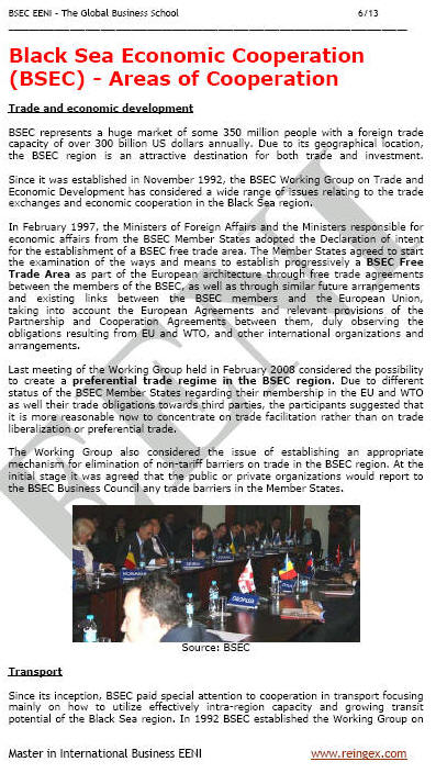 Black Sea Economic Cooperation (BSEC) Course