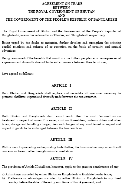 Bhutan-Bangladesh Free Trade Agreement