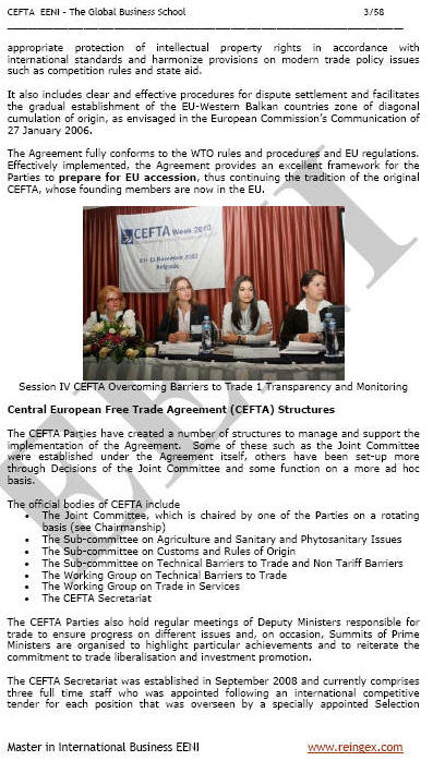 Central European Free Trade Agreement CEFTA (Course)