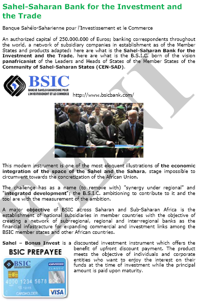 Sahel-Saharan Bank Investment Trade