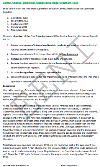 Central America-Dominican Free Trade Agreement (FTA)