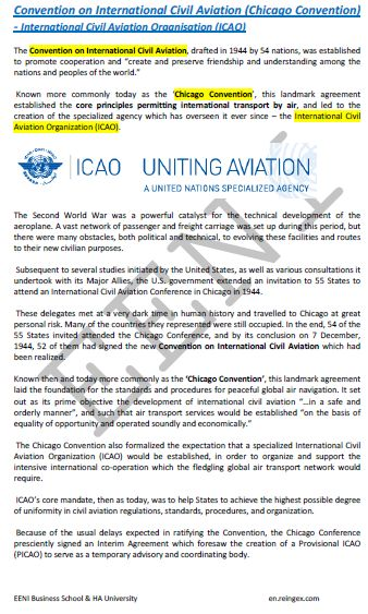 International Civil Aviation Organisation. Chicago Convention