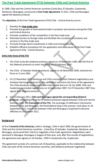 Chile-Central America Free Trade Agreement (Course)