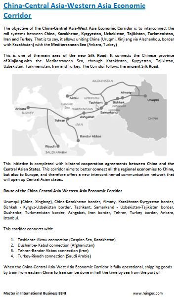China-Central Asia-West Asia Economic Corridor: Kazakhstan, Kyrgyzstan, Uzbekistan, Tajikistan, Turkmenistan, Iran Turkey. Road Transportation Course