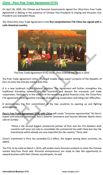 China-Peru Free Trade Agreement (Course)