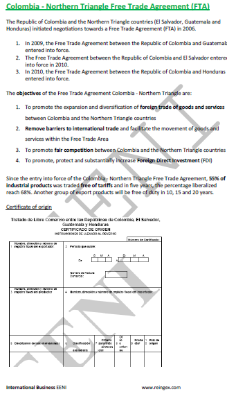 Colombia-Northern Triangle Free Trade Agreement (Course)