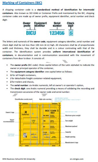 Containers and international transport. Customs Convention on Containers. BIC Code. Intermodal Transport