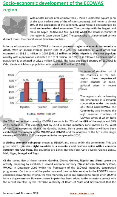 ECOWAS Socio-economic context