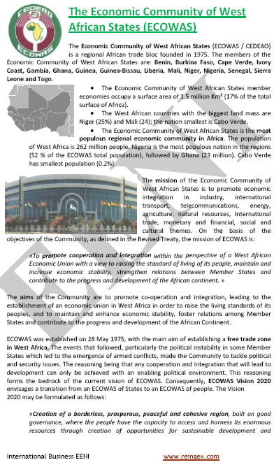 Course: ECOWAS Economic Community of West African States