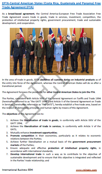 EFTA-Central America Free Trade Agreement (FTA)