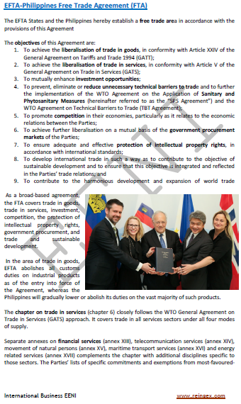 European Free Trade Association (EFTA)-Philippines Free Trade Agreement