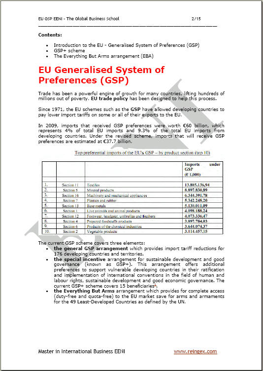 EU GSP Generalised System Preferences