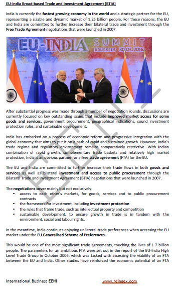 European Union-India Free Trade Agreement