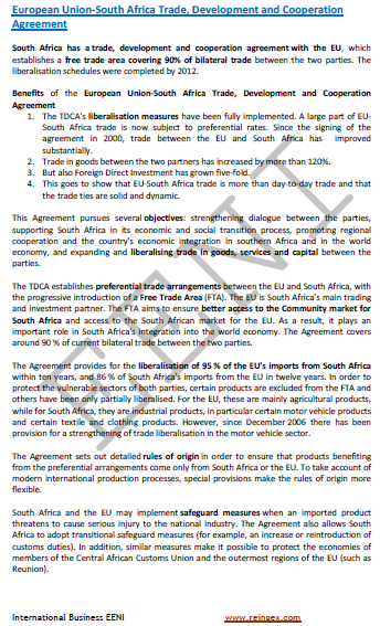 European Union-South Africa Trade and Cooperation Agreement