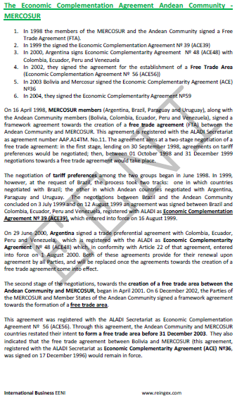 Andean Community-MERCOSUR Free Trade Agreement (Course)
