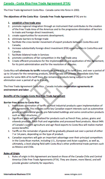 Costa Rica-Canada Free Trade Agreement (Course)