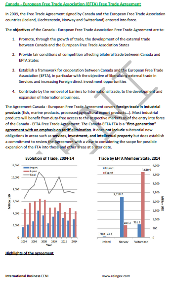 Canada-EFTA States Free Trade Agreement (Course)