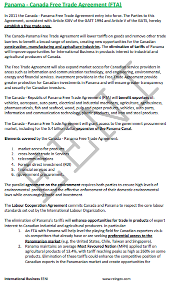 Panama-Canada Free Trade Agreement (Course Master)