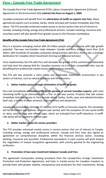Canada-Peru Free Trade Agreement (FTA)