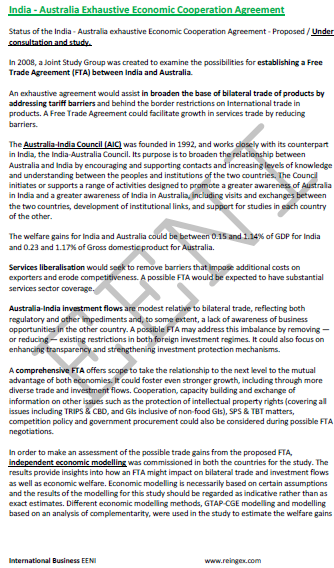 India-Australia Economic Cooperation Agreement (Course Master)