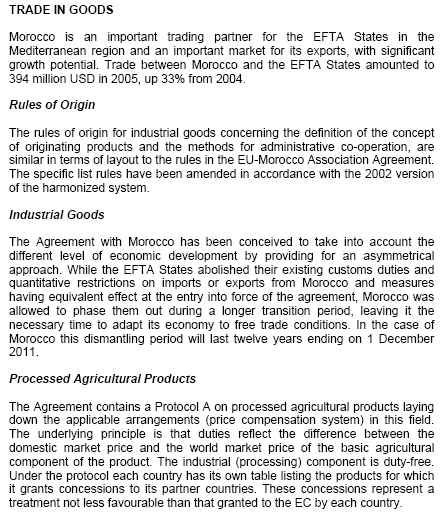 Morocco-EFTA Free Trade Agreement (Course Master)