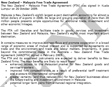 Agreement New Zealand Malaysia