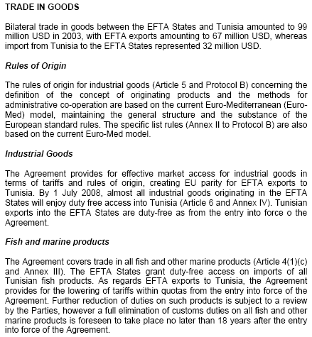 Tunisia-EFTA Free Trade Agreement (FTA)
