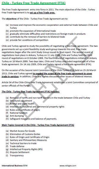 Chile-Turkey Free Trade Agreement