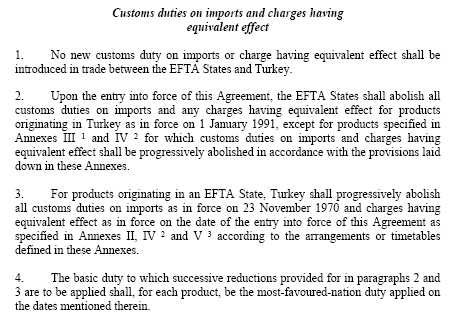 Agreement Turkey-EFTA
