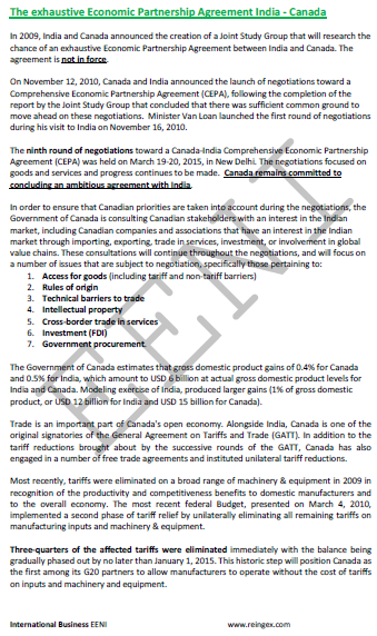 India-Canada Free Trade Agreement (Course)