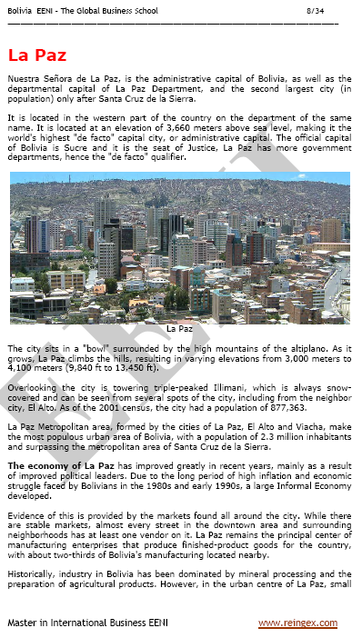 Course: Doing Business in Bolivia, La Paz