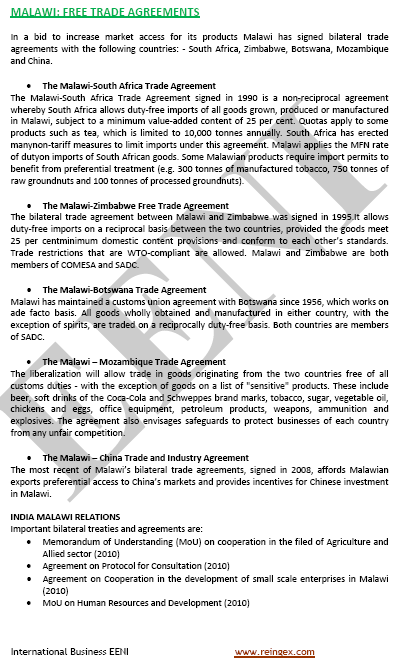 Malawi Free Trade Agreements (FTA)