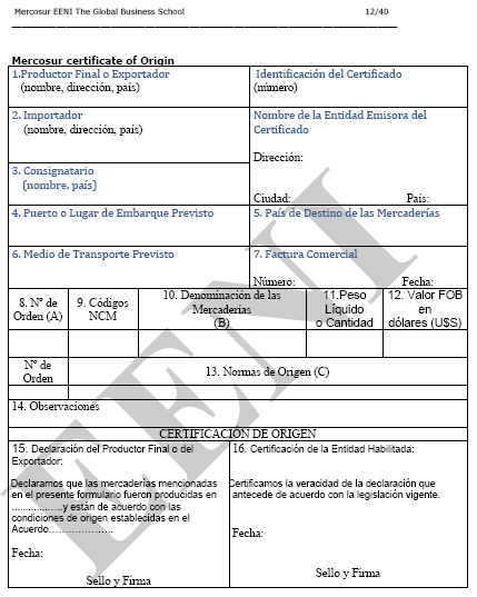 MERCOSUR Certificate of Origin