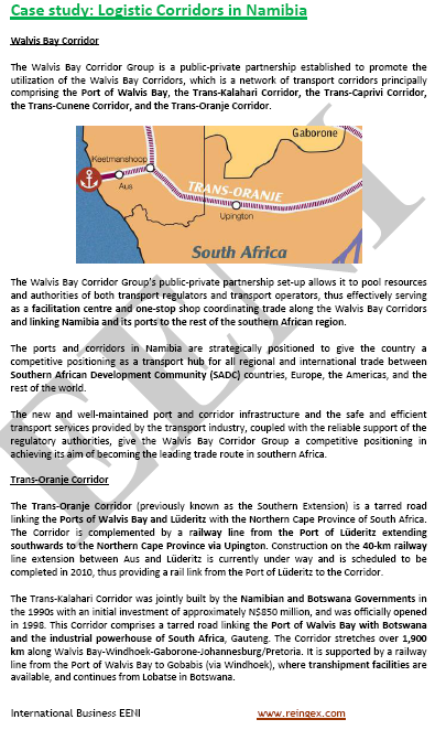 Course: Logistics Corridors in Namibia