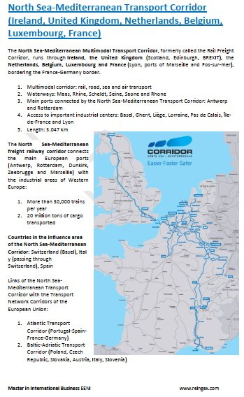 North Sea-Mediterranean Transport Corridor (Ireland, United Kingdom, Netherlands, Belgium, Luxembourg, France)