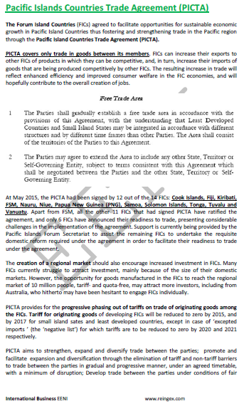 e-Course: Pacific Island Countries Trade Agreement (PICTA)