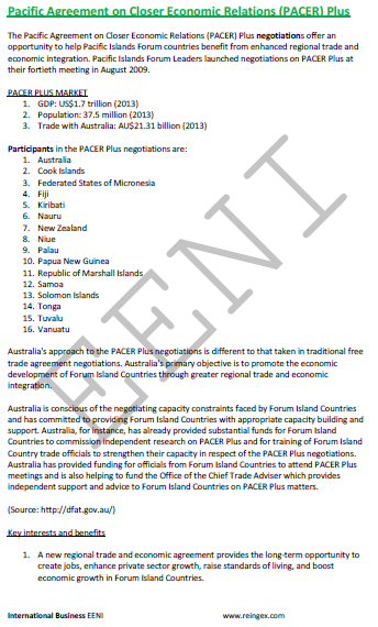 e-Course: Pacific Agreement PACER