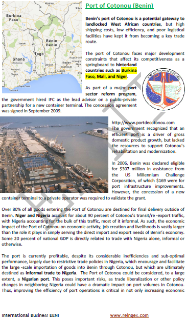 Logistics Course: Port of Cotonou (Benin)