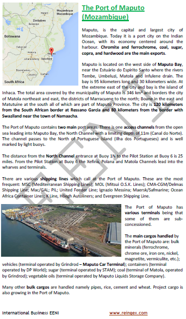 Logistics Course: Port of Maputo (Mozambique)