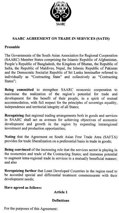 SAARC Agreement on Services