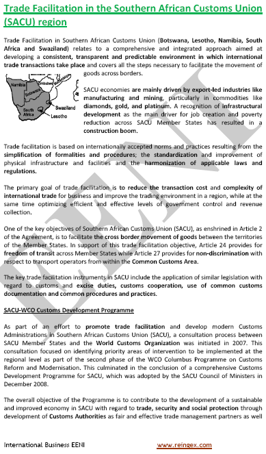 Southern African Customs Union (SACU, Master)
