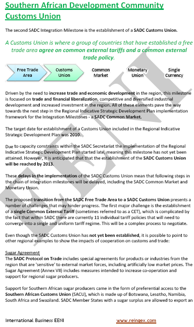 SADC Customs Union (Master Africa)