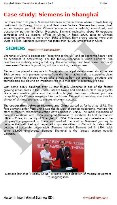 Siemens in Shanghai China (e-Course)