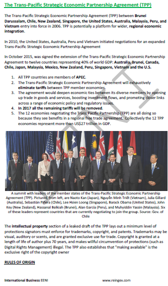 TPP Trans-Pacific Agreement