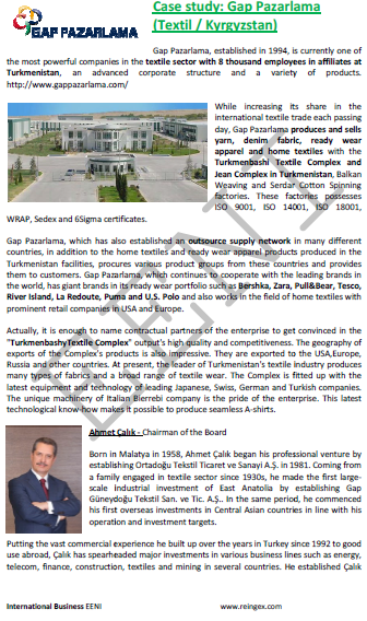 Turkmenistán Empresa Gap Pazarlama