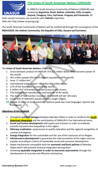 Union of South American Nations (UNASUR) Master